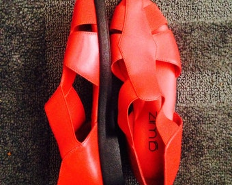 Vintage Red Leather Sandals Size 6.5