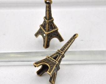 Eiffel Tower Charms -13 pcs Antique Bronze Paris Eiffel Tower Charm Pendants -35*12mm --G0079