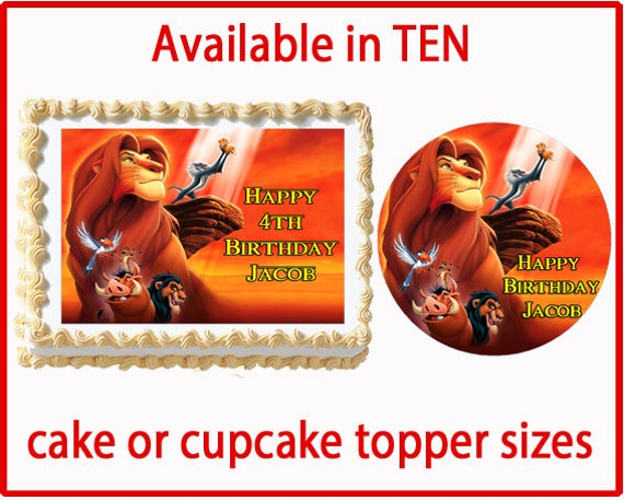 Edible Cake Images Lion King : Lion King Edible Cake Cookie or Cupcake Toppers by ...
