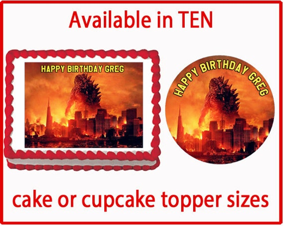 Godzilla Edible Cake Cookie or Cupcake Toppers by ...