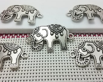 15 Elephant Connector ,Elephant Bracelet , Elephant Jewelry