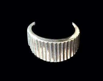 Modernist Sterling Ring, Bold Ridge Design, Size 9
