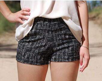 SALE-Black/White High Waisted Shorts