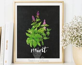 herbs print kitchen decor printable garden plants art culinary print food poster art Mint Herbs kitchen print mint wall art decor poster 73