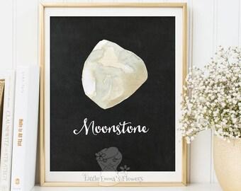 watercolor gemstone wall decor gemstone art Welcome print art  birthstone art home decor printable art Moonstone Gemstone print art  185