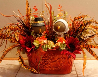 Thanksgiving PilgrimTurkey Couple Floral Arrangement Pam'sDeZines Thanksgiving Turkey Arrangement Thanksgiving Centerpiece (Item 203)