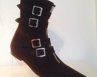 4 Buckle Winklepicker Boots in Black Suede