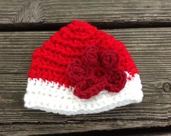 "Red Crocheted Doll flower Beanie Hat. Fits 18"" dolls, American Girl Dolls, & Bitty Baby. Summer"