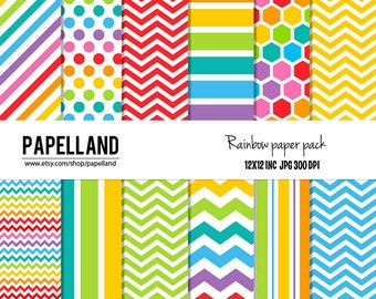 Rainbow Chevron Digital Papers perfect for scrapbooking, invitations, party decor, backgrounds 12x12 instant download