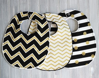 Baby Bib Set- Gold Metallic, Black and White Gender Neutral Baby Bibs - Set of 3 Minky Bibs - Boy or Girl Gold Chevron, Gold Polka Dots