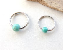 Turquoise Beaded Cartilage Earring, Cartilage Earring, Body Piercing Jewelry, Tragus Rook Helix Earring, CBR Cartilage Ring, Belly Ring. 511