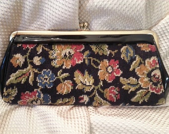 Vintage 1960's Floral Needlepoint and Patent Leather Clutch,Purse