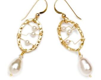Dangle Earrings Wire-wrapped w/ White Pearls in 14k Gold Fill Oval- 50