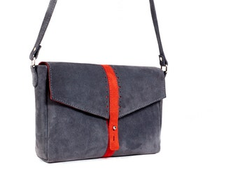 Grey and Red leather clutch. Suede leather crossbody bag. Grey leather bag.