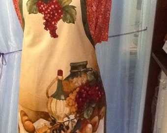 Kitchen Apron - Reversible- One Size - Vino Bellissimo - Wine Theme - burgundy, green, beige, red