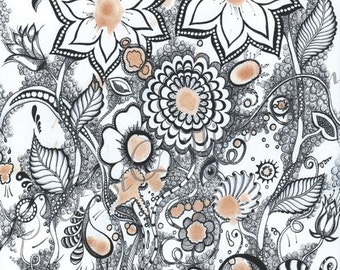 "Original Zentangle Art ""Coffee Flowers"" Print A4/A3 size Wall Deco Wall Art Fine Art Print"