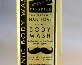 Mens Burds of Paradise Organic Body Wash 200ml Vegan No SLS, Parabens or Palm Oil