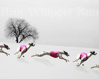 Whippet Winter Run Art (L)