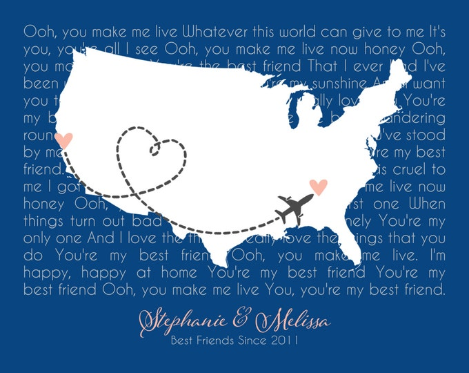 Gifts for Best Friend Country State Map Song Lyrics Long Distance Quote Canvas Print Gift Idea Personalized Print Heart Unique 8x10 Birthday