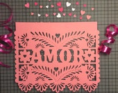 Papel Picado Flags, Banners for Weddings, Amor, Day of the Dead, Engagement Parties, Rehearsal Dinner, Fiesta Wedding