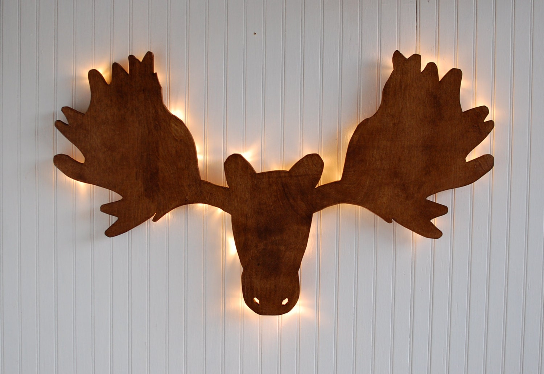 Wood Moose Wall Light Moose Head Lighted By