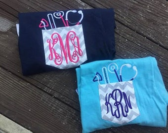 Nurse, Doctor, or Vet Personalized Monogram Pocket Shirt