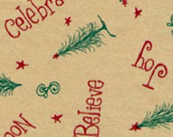 Believe, Rejoice, Celebrate on Kraft Tan - Primitive Christmas Tissue Paper  # 829 / Gift Wrap - 10 large sheets
