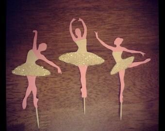 Ballerina Cupcake Toppers - Golden Cream Glitter Tulle TuTu