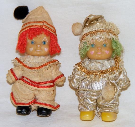 VERY ANTIQUE 2 Tiny Clown Dolls