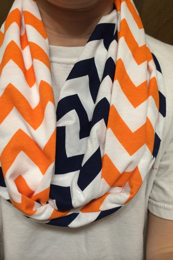 Navy Blue Amp Orange Chevron Infinity Scarf By Sistersandsewon