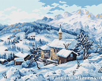 "Cross stitch pattern ""Village in the mountains"""