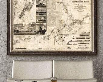 "Map of Hong Kong & Macao 1834, Vintage map of Pearl River Delta China, in 4 sizes up to 54x36"" (140x90 cm) - Limited Edition of 100"