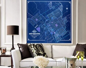 """Map of San Jose, CA 1886, Old San Jose map in 3 sizes up to 36x36"""" (90x90 cm) San Jose, California, also in blue - Limited Edition of 100"""