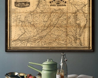 """Map of Virginia 1862, Virginia map in 5 sizes up to 54x36"""" VA Poster, Civil War map of Virginia, West Virginia - Limited Edition of 100"""