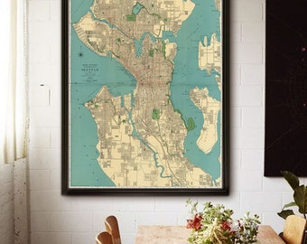 "Map of Seattle WA, 1924 Old Seattle map. Large vintage map of Seattle, Washington up to 36x48"" Seattle poster - Limited Edition of 100"