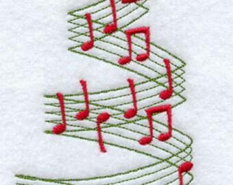 Merry Music Christmas Tree Embroidered flour sack tea towel/dish towel