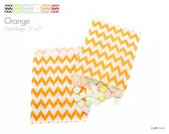 "25 Large Chevron Orange Treat Bags - 5"" x 7"""