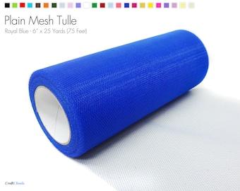 "Royal Blue Plain Nylon Mesh Tulle - 6"" x 25 Yards (75 Feet)"