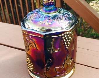 Indiana Carnival Glass Canister-Humidor in Blue Harvest Pattern
