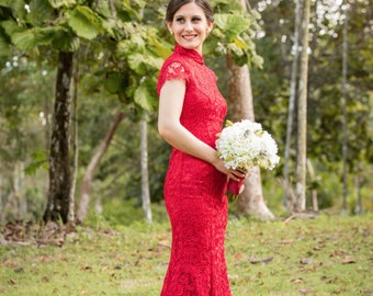 Mermaid Wedding Dress Lace with Train,Red Lace Cheongsam Gown,Lace Chinese Dress,Bridal Wedding Party Dress,Bridal Prom Dress, Red Qipao