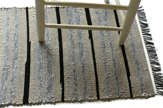 Vintage Fabric Loom Woven Rag Rug 22x39 Kitchen Rag By