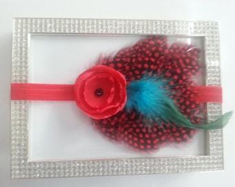 red and black goose feathers headband photo prop, fabric flower flapper, Baby Girl Headband, Newborn Headband, Infant Headband,