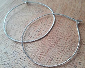 Silver hoop earrings,1.5 in., medium hoops, recycled silver, lightweight earrings,