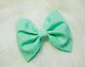 Mint Dot Hair Bow