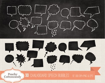 BUY 2 GET 1 FREE 60 Digital Chalkboard Speech Bubbles - chalk board speech bubble clip art - speech bubbles clipart - Commercial Use Ok