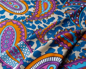 Purple Pink Blue Multi Colored Paisley Printed Polyester Fabric 33 inches in Length  LWW00047