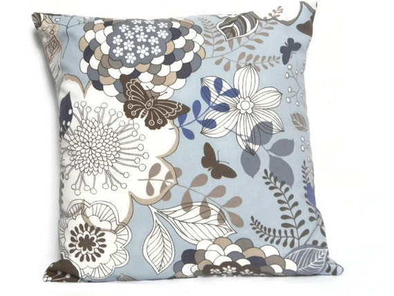 Pillow Cover Floral Pillow Cover Brown Beige Blue And