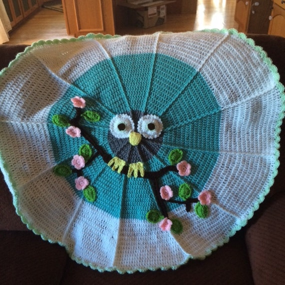 Crochet Baby Owl Afghan Blanket ~ Handmade ~ Baby Shower ~ Gift