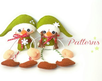 Christmas Elves-Christmas Ornaments patterns-PDF-Set of two Little Helpers PDF Sewing Patterns-DIY Christmas ornament-Felt Elf ornament