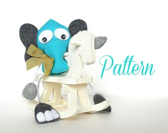 Skinny Elephant-PDF sewing pattern-DIY-Jungle animals party favors-Felt toy pattern-Instant download-Small gifts-Valentine's  day present